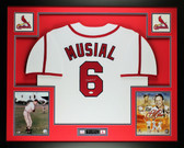 Stan Musial Autographed and Framed White Cardinals Jersey Auto JSA COA (D4-L)