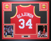 Hakeem Olajuwon Autographed and Framed Red Rockets Jersey Auto JSA COA (D2-L)