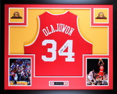 Hakeem Olajuwon Framed and Autographed Red Jersey Auto JSA COA (D3-L)
