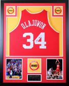 Hakeem Olajuwon Autographed and Framed Red Rockets Jersey JSA COA (D1-V)
