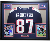 Rob Gronkowski Autographed and Framed Navy Patriots Jersey Auto PSA COA (D3-L)