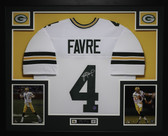 Brett Favre Autographed and Framed White Packers Jersey Favre COA (D3-L)