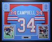 Earl Campbell Autographed HOF '91 and Framed Blue Oilers Jersey JSA Certified