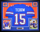 Tim Tebow Autographed and Framed Blue Gators Jersey PBA COA (D2-L)
