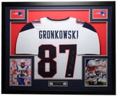 Rob Gronkowski Autographed and Framed White Patriots Jersey Auto PSA COA (D6-L)