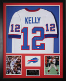 Jim Kelly Autographed and Framed White Bills Jersey Auto JSA COA (D1-V)