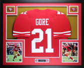 Frank Gore Autographed and Framed Red 49ers Jersey Auto JSA COA (D1-L)