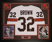 Jim Brown Autographed HOF 71 and Framed White Browns Jersey Auto JSA COA D4-L