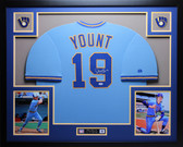 Robin Yount Autographed HOF and Framed Blue Brewers Jersey Auto PSA COA (D1-L)