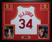 Hakeem Olajuwon Autographed and Framed White Rockets Jersey JSA Certified