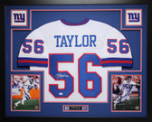 Lawrence Taylor Autographed and Framed White Giants Jersey Auto JSA COA (D5-L)