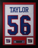 Lawrence Taylor Framed and Autographed White Giants Jersey JSA COA D2-S