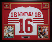 Joe Montana Autographed and Framed White 49ers Jersey Auto PSA COA (D5-L)