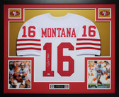 Joe Montana Autographed and Framed White 49ers Jersey Auto PSA COA (D6-L)
