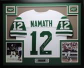 Joe Namath Autographed and Framed White Jets Jersey Auto JSA COA (D4-L)