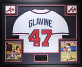 Tom Glavine Autographed HOF and  Framed White Braves Jersey Auto JSA COA (D1-3)