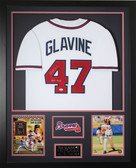 Tom Glavine Autographed HOF and Framed White Braves Jersey JSA COA (D1-V)
