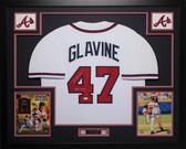 Tom Glavine Autographed HOF 14 and Framed White Braves Jersey Auto JSA COA D3-L