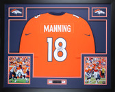 Peyton Manning Autographed & Framed Orange Broncos Jersey Auto Steiner COA D14