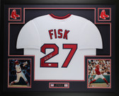 Carlton Fisk Autographed & Framed White Red Sox  Jersey Auto JSA COA D1-L