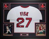 Carlton Fisk Autographed & Framed White Red Sox  Jersey Auto JSA COA D1-L