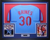 Tim Raines Autographed & Framed Blue Expos Jersey Auto JSA COA D1-L