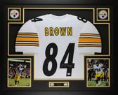 Antonio Brown Autographed & Framed White Steelers Jersey Auto JSA COA D2-L