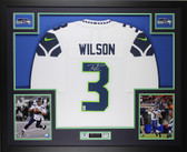 Russell Wilson Autographed & Framed White Seahawks Jersey Auto Wilson COA D3-L