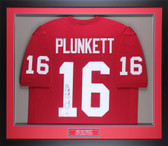 Jim Plunkett Autographed & Framed Red Cardinals Jersey COA GT D3-M