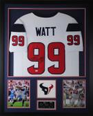 JJ Watt Autographed & Framed White Texans Jersey Auto JSA Certified D3-V