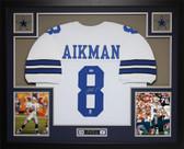 Troy Aikman Autographed and Framed White Cowboys Jersey PSA COA D11-L