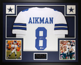 Troy Aikman Autographed and Framed White Cowboys Jersey PSA COA D12-L