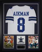 Troy Aikman Autographed and Framed White Cowboys Jersey PSA COA D2-V