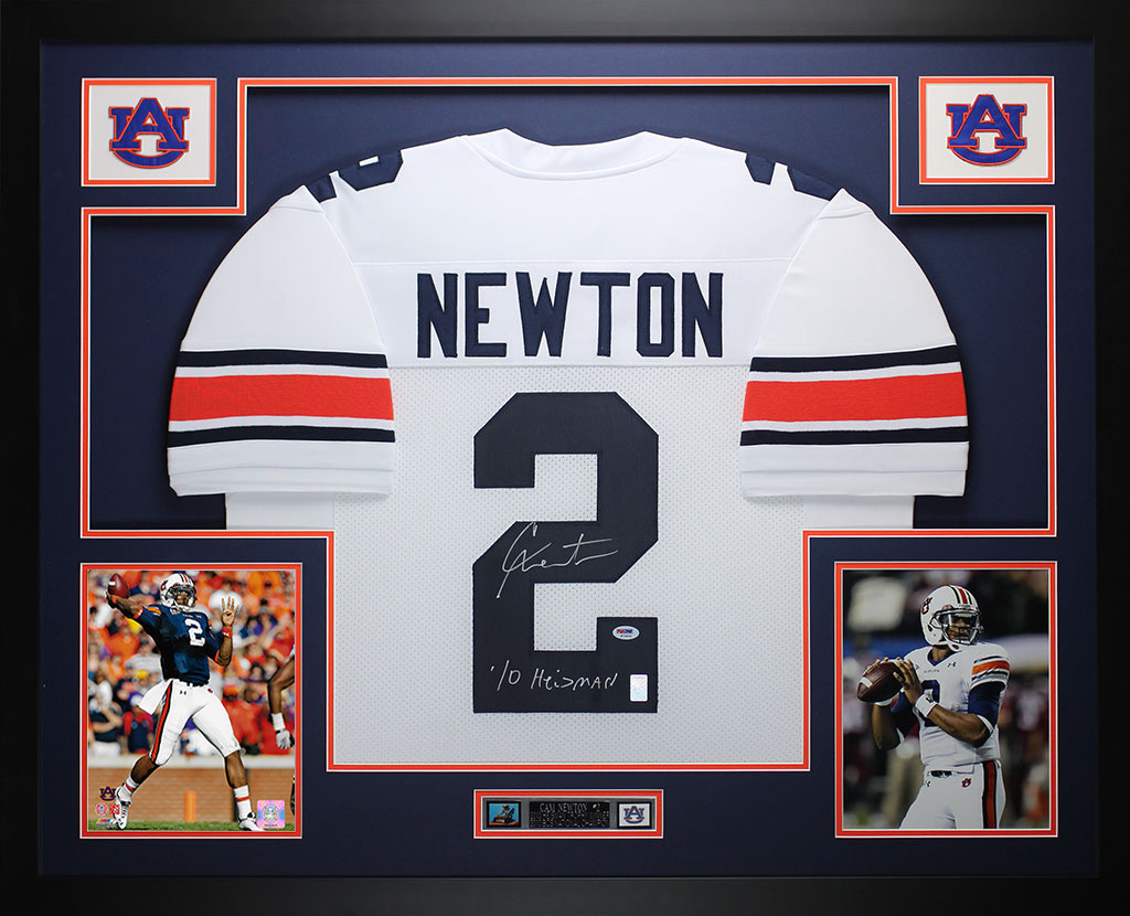 Cam Newton Autographed and Framed White Auburn Jersey