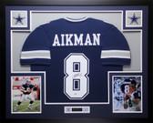 Troy Aikman Autographed and Framed Blue Cowboys Jersey PSA COA D13-L