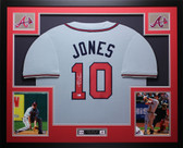 Chipper Jones Autographed 95 WS Champs & Framed Gray Braves Jersey MLB COA D7-L
