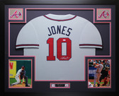 Chipper Jones Autographed & Framed Gray Braves Jersey Auto PSA COA D8-L