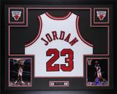 Michael Jordan Autographed & Framed White Bulls Jersey Auto Upper Deck COA D15