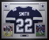 Emmitt Smith Autographed & Framed Blue Cowboys Jersey Auto JSA COA D10-L