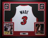 Dwyane Wade Autographed & Framed White Heat Jersey PSA COA D1-L