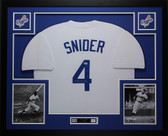 Duke Snider Autographed and Framed White Dodgers Jersey Auto PSA COA