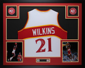 Dominique Wilkins Autographed & Framed White Hawks Jersey JSA Certified D4-L