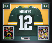 Aaron Rodgers Autographed & Framed Green Packers Nike Jersey Auto Fanatics COA D7-L