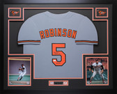 Brooks Robinson Autographed HOF 83 & Framed Gray Orioles Jersey Auto JSA COA D3