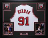 Dennis Rodman Autographed Framed White Chicago Bulls Jersey Auto JSA COA D6-L