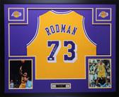 Dennis Rodman Autographed Framed Gold Lakers Jersey Auto JSA COA D7-L