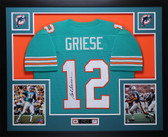 Bob Griese Autographed and Framed Teal Dolphins Jersey Auto JSA COA D1-L