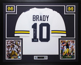 Tom Brady Autographed & Framed White Michigan Jersey Auto Tristar COA D16-L