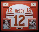 Colt McCoy Autographed Framed White Longhorns Jersey PSA COA D1-L