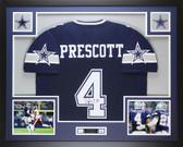 Dak Prescott Autographed and Framed Blue Cowboys Jersey Auto JSA COA D2-L
